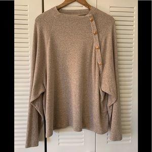 ❤️H&M Ecru Sweater w/ Gold Buttons Dolman L